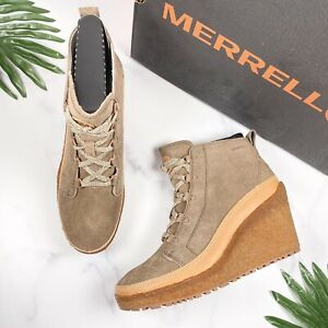 NIB Merrell Tremblant Wedge Lace Pump Ankle Boots Booties 9.5M Stone Suede Tan