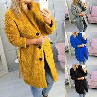 Women Long Sleeve Lapel Coat Faux Fur Plush Winter Warm Button Jacket Outwear