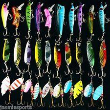 30PCS Metal Spoon Spinnerbaits CrankBait Hard Artificial Lures Fishing Lure Kits