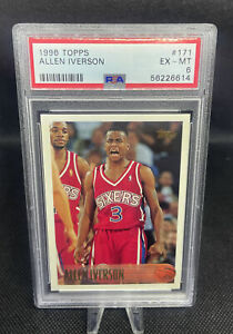 ALLEN IVERSON RC 1996-97 TOPPS ROOKIE CARD #171 PSA 6 EX-MINT 76ERS HOF