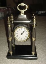 Bombay Mantel Clock - Brass With Stone Base - Movement India 5 lbs. EWC