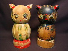 Vtg Wood Owl Squeaker Growler Salt & Pepper Shaker Old Wooden Folk Art Cat Bird