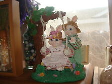 CERAMIC / CLOTH EASTER BUNNIES ON A SWING - VERY CUTE - QUALITY ITEM - 2.16 LBS