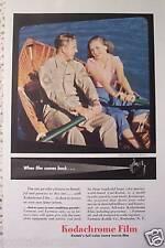 KODAK CAMERA FILM  WWII ERA 3 DIFF VINTAGE  ADS 1945 soldier girl rowboat