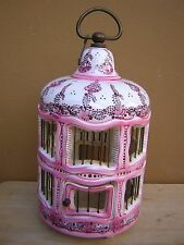 RARE LARGE VINTAGE VERY ORNATE CAPODIMONTE MOLLICA ITALY PORCELAIN BIRD CAGE