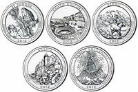 "Complete 2012 ""P"" National Parks US Quarter Set - Five BU Coins - ATB Set"