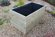 1 METRE LARGE WIDE EXTRA TALL WOODEN GARDEN PLANTER TROUGH HAND MADE IN DECKING