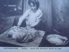 Carte postale Cochinchine Saïgon jeune fille Annamite lavant du linge