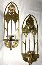 "Pair Solid Brass Candle Holder Wall Sconce Leaf  Decorative 18"" Frame"