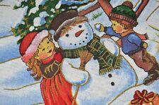CHRISTMAS KIDS BUILD SNOWMAN & ICE SKATER! VINTAGE GERMAN PRINT TABLECLOTH