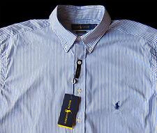 Men's RALPH LAUREN Blue White Stripe Shirt LT TALL Performance NWT NEW Nice!