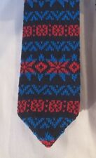 IVY PREPSTER Designer 100% Cotton KNIT Dress TIE Blue Red - FREE SHIPPING