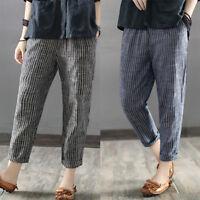 Womens Striped Pockets Harem Cargo 3/4 Capri Pants Leggings Fitness Plus Size