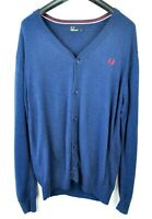 FRED PERRY Men's Medium Cardigan 100% Cotton Button Up Knit Jumper Sweater Top M
