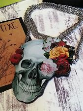 Quirky, Laser-cut, Wood Necklace Skull & Flowers
