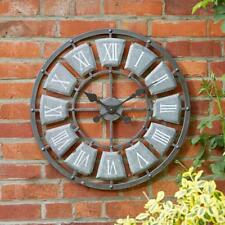 Outdoor Round Roman Numeral Wall Clock Large 62cm Garden Metal Indoor Decoration