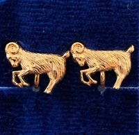 VINTAGE CAPRICORN EARRINGS GOAT CLIP BACK GOLD TONE METAL ASTROLOGY JEWELRY NOS