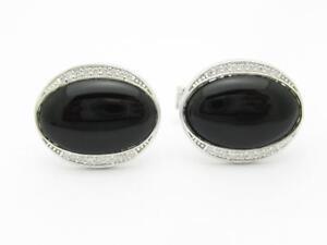 Platinum Sterling Silver White Sapphire & Black Onyx Oval Halo Cufflinks Bridal