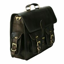"""Messenger Shoulder Bag Laptop Briefcase Travel 18"""" Men's Handmade Brown Leather"""