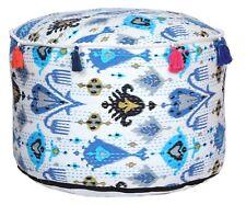 """Handmade 22"""" White Ikat Kantha Ottoman Pouf Pouffe Chair Foot Stool Moroccan"""