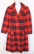 Vtg Pendleton Trench Coat Red Plaid 100% Virgin Wool Work Jacket Dress