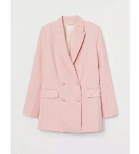 NWT H&M Double Breasted Pink Blazer Jacket Sold Out Elegant Oversize Style Sz L