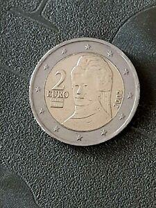 2 Euro Autriche 2002 : rare: 2 euro gravé 4 fois sur la tranche