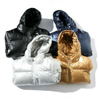 Men Women Hooded Puffer Jacket Shiny Parka Quilted Padded Coat Warm Outwear Chic