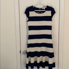 Boston Proper Navy & Ivory Striped Dress