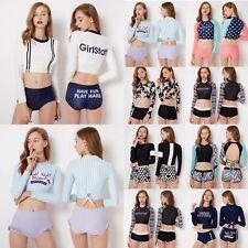 Women Long Sleeve Rash Guard Crop Top Swimwear+Board Shorts Bikini Set Swimsuit