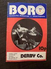 1977 Middlesbrough  V Derby County  Football Programme