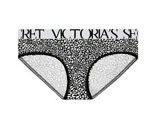 Victorias Secret Cotton Logo Hiphugger Black White Print Panty Size S