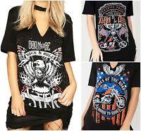 Womens Ladies Choker Neck Dress Short Sleeve Slogan Printed Longline T Shirt