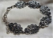 "Silver Victorian Edwardian Style Bracelet with Rhinestones, Marcasite, 7 1/2-8"""