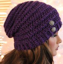Slouchy Purple Hat w/Button Accent Beanie Boho Women's Teens Girls Winter