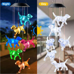 Solar Powered Dog Light Wind Chimes Lamp Color Changing Home Garden Yard Decor