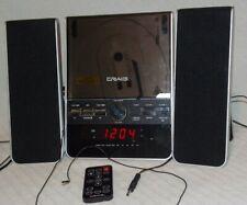 3 Piece Craig Cd Shelf Speaker System Dual Alarm Clock Am/Fm Stereo Radio Remote