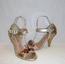 Raphaella Booz Women's Caro Gold Embossed Heels Retail $148 size 9