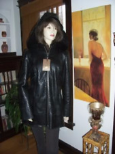NEW Hooded Black Shearling Alligator Coat Jacket $2300
