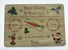 Personalised Christmas Eve / Wooden Treat Santa Plate, Platter Board, Place Mat