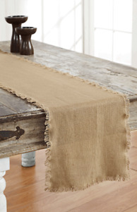 """BURLAP NATURAL TABLE RUNNER 13X72"""" FRINGED COTTON WOVEN INTO BURLAP"""