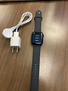 Apple Watch Series 6 44mm Space Gray Aluminum Case with Black/Blue Sport Band