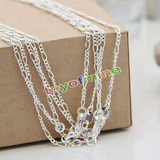 "5*Bulk 925 Sterling Silver Figaro Chain Necklace Jewelry Pendants 16-30"" 2MM"
