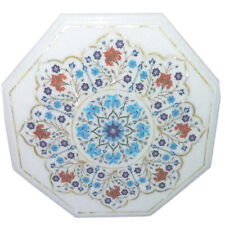 """15""""x15"""" Beautiful Marble Inlay Work Table Top Decorative"""