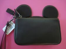 COACH X DISNEY MICKEY MOUSE WRISTLET PURSE MICKEY MOUSE EARS BLACK NEW
