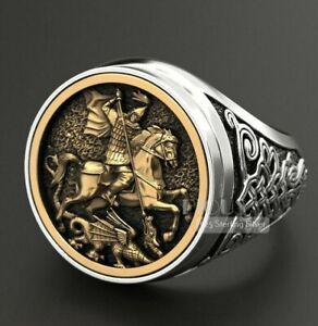 Ninja Warrior St George Signet dragon Iconographic 925 silver Men Ring size 12