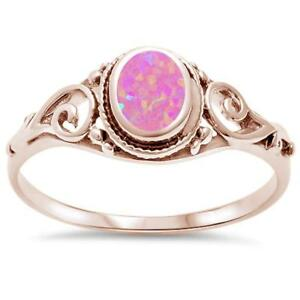 Rose Gold Plated Pink Opal Filigree .925 Sterling Silver Ring