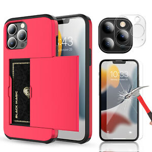For iPhone 13 Pro Max / 13 mini Wallet Card Holder Case Lens & Screen Protector