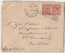 Stamps England 1&1/2d brown KGV pair P & O NZ ship cover to Australia PAQUEBOT