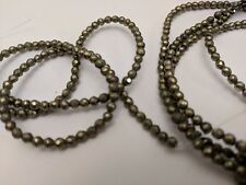 Natural Pyrite Beads, Faceted, Round, Dark Khaki, 3mm, Hole: 0.5mm Qty 20